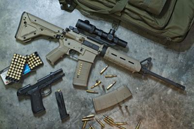 Tactical Rifle, handgun, and ammo