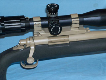Side view of a scoped accessorized rifle