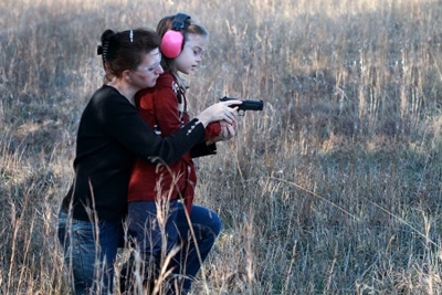 Youth with Mother for Firearms Training